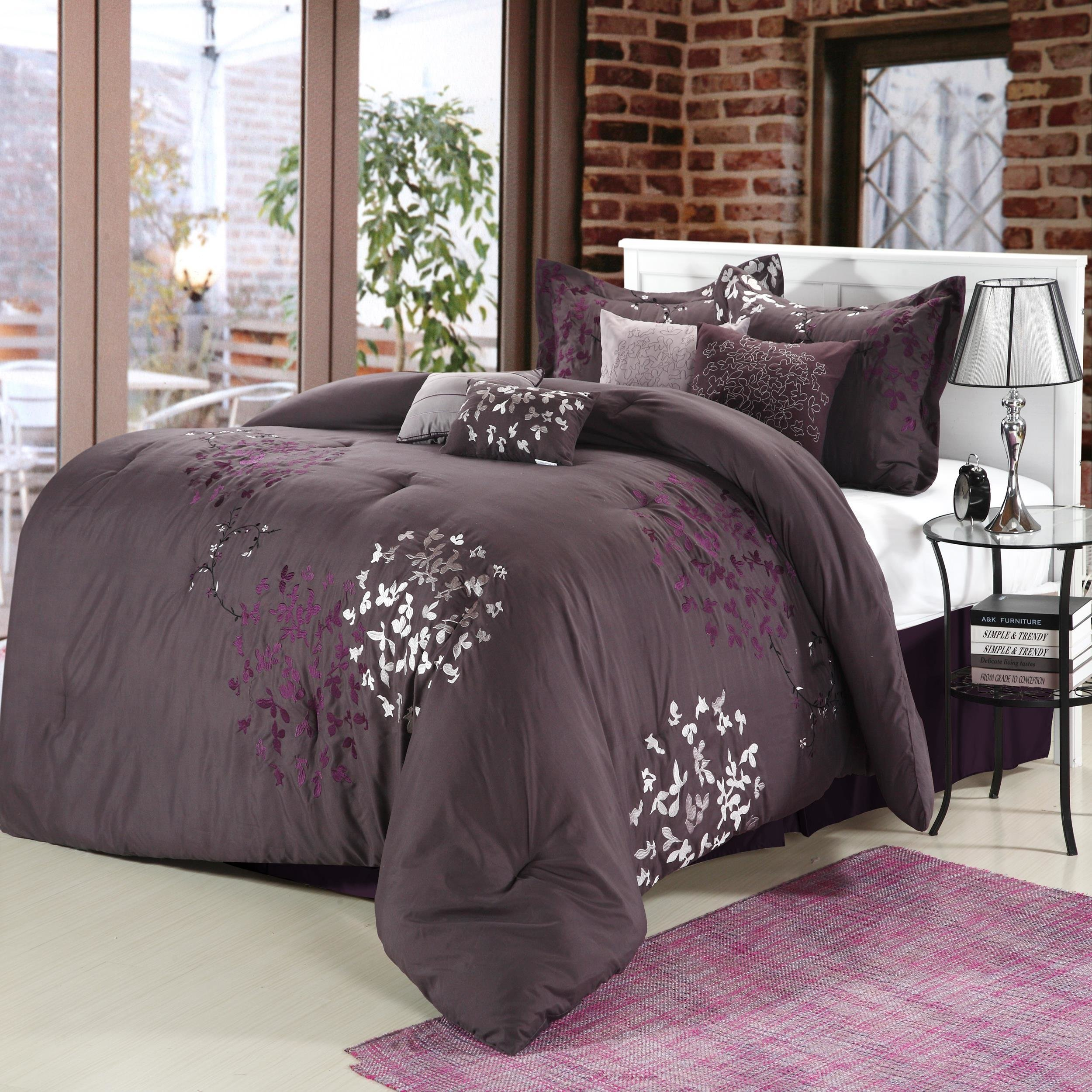 Best Cheila Purple Silver Plum 8 Piece Comforter Bed In A Bag With Pictures