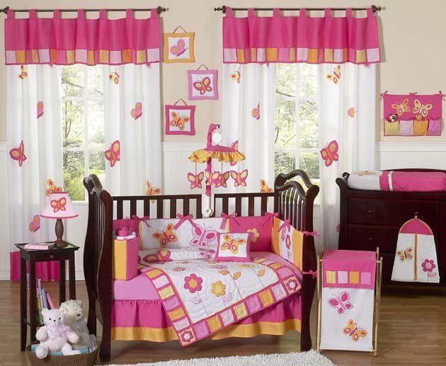 Best Cheap Discount Pink Butterfly Flower 9Pc Baby Girls Crib With Pictures