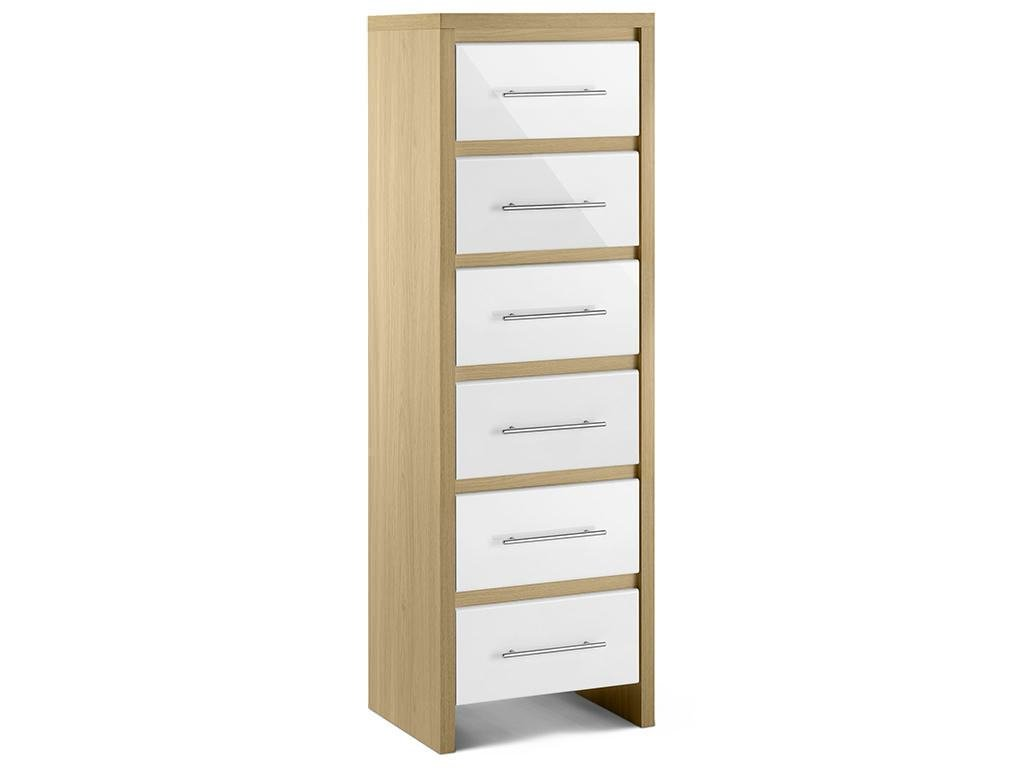 Best Oak High Gloss White Bedroom Tall Narrow Chest Of 6 Drawers Ebay With Pictures