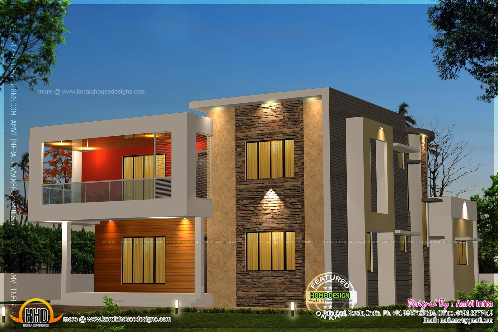 Best 5 Bedroom Contemporary House With Plan Kerala Home With Pictures