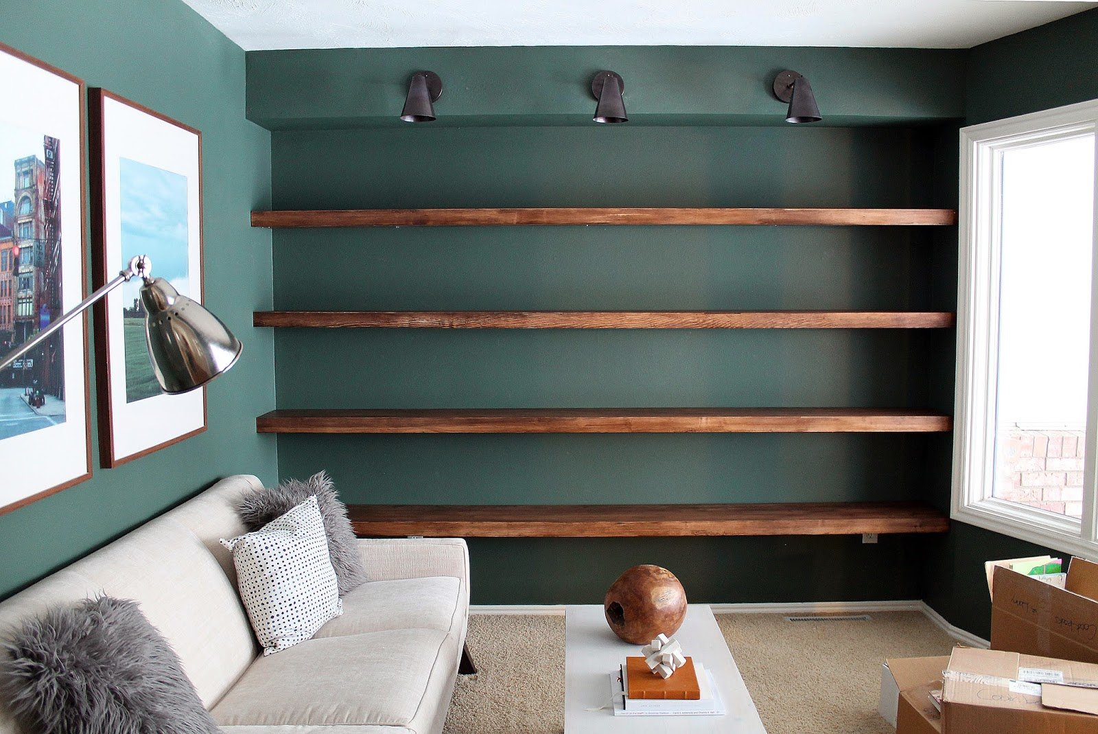 Best Diy Solid Wood Wall To Wall Shelves Chris Loves Julia With Pictures