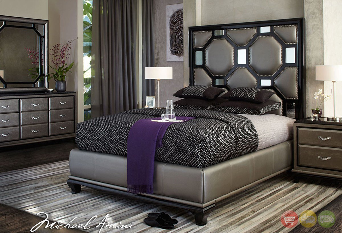 Best Michael Amini After Eight Modern Upholstered Bedroom With Pictures
