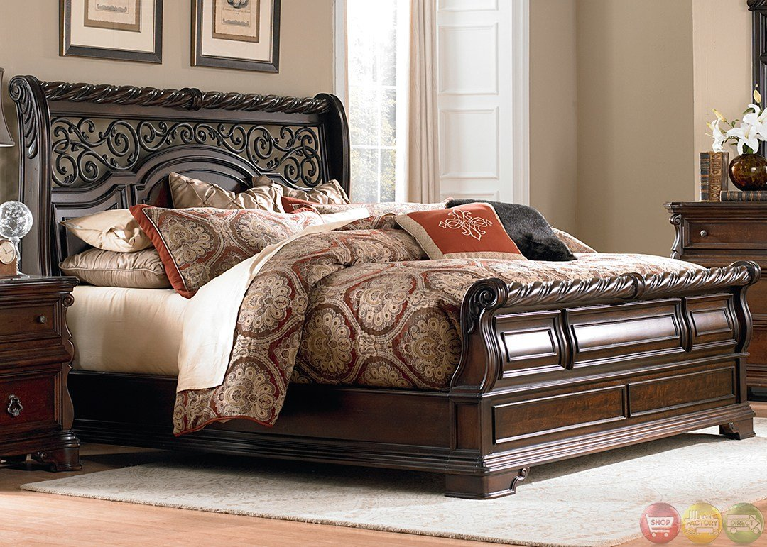 Best Arbor Place European Traditional Brownstone Sleigh Bedroom Set With Pictures