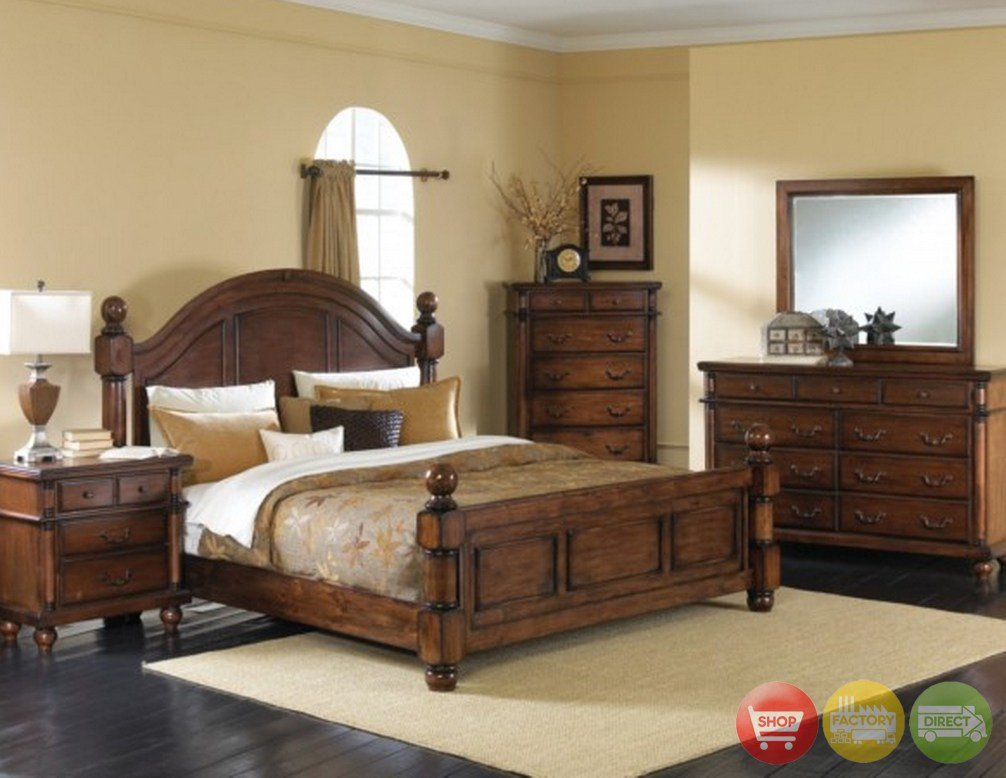 Best Augusta Traditional Walnut Finish Bedroom Furniture Set With Pictures