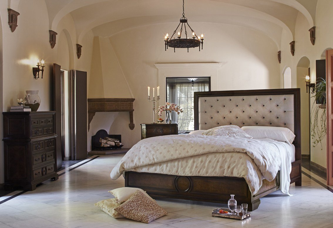 Best Michael Amini Bella Cera Bedroom Set With Fabric Tufted Headboard In Capri By Aico With Pictures