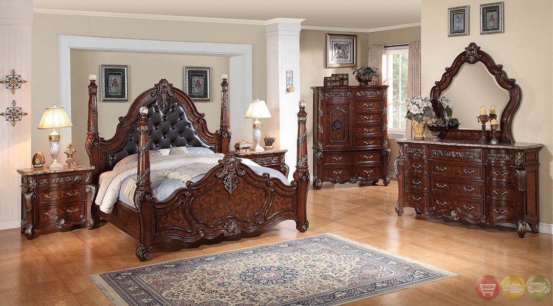 Best Grandeur Leather Rustic Cherry Poster Bedroom Set With With Pictures