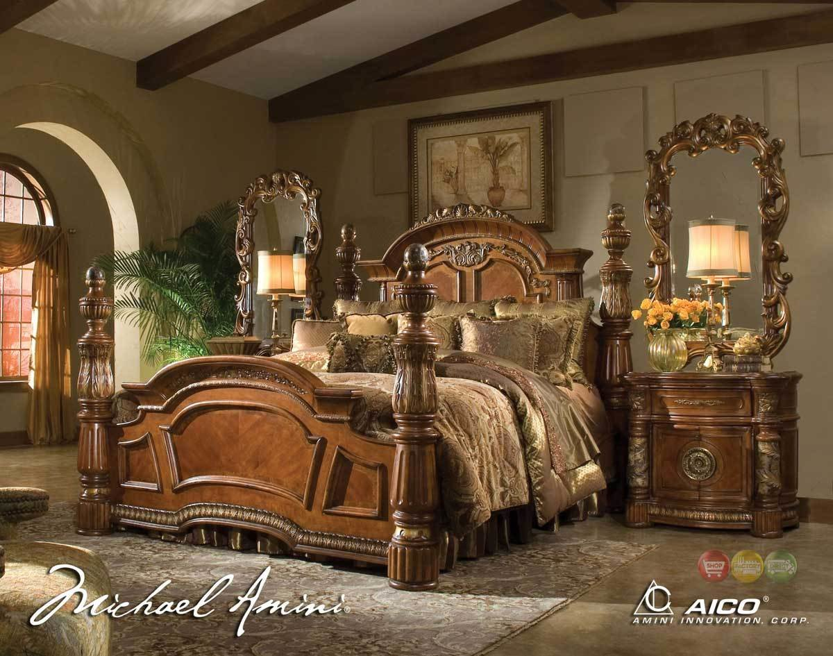 Best Michael Amini Villa Valencia 4 Poster King Bedroom Set With Pictures