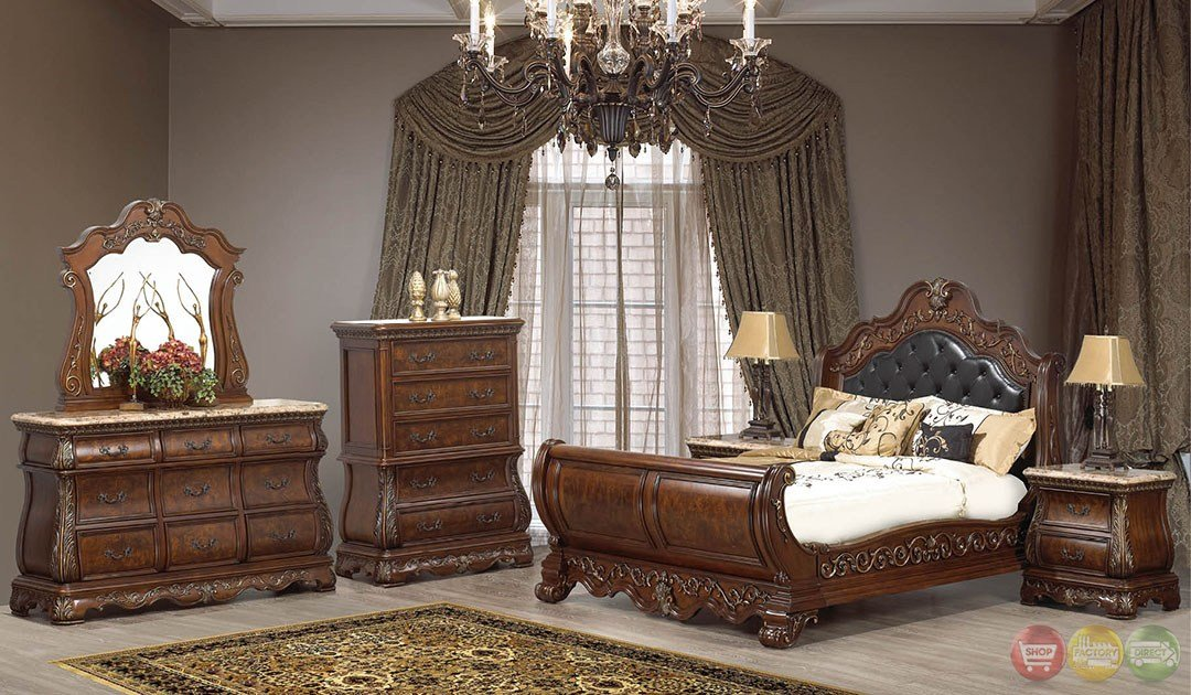 Best Milan Traditional Cherry Sleigh Bedroom Set With Stone With Pictures
