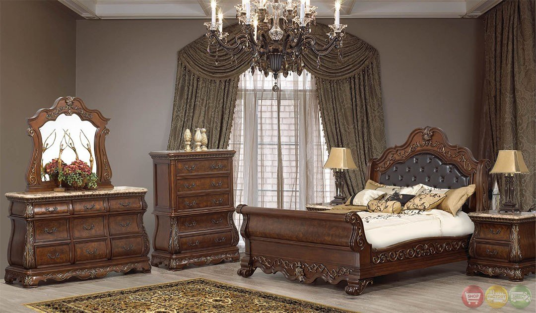 Best Rome Traditional Cherry Sleigh Bedroom Set With Stone Tops With Pictures