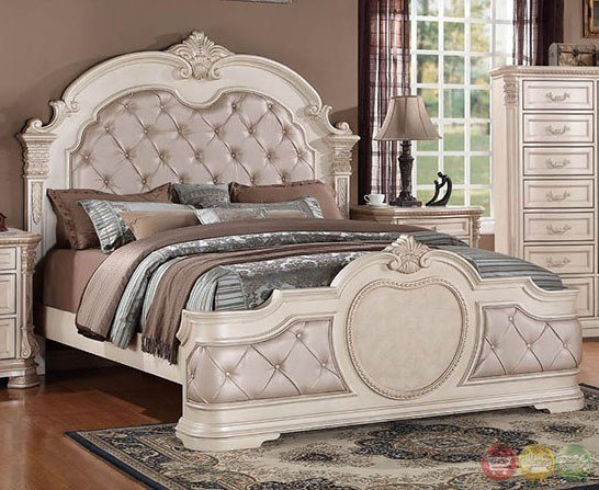 Best Unity Antique Traditional Distressed Antique White Upholstered Bedroom Set With Stone Tops Rpcmo01 With Pictures