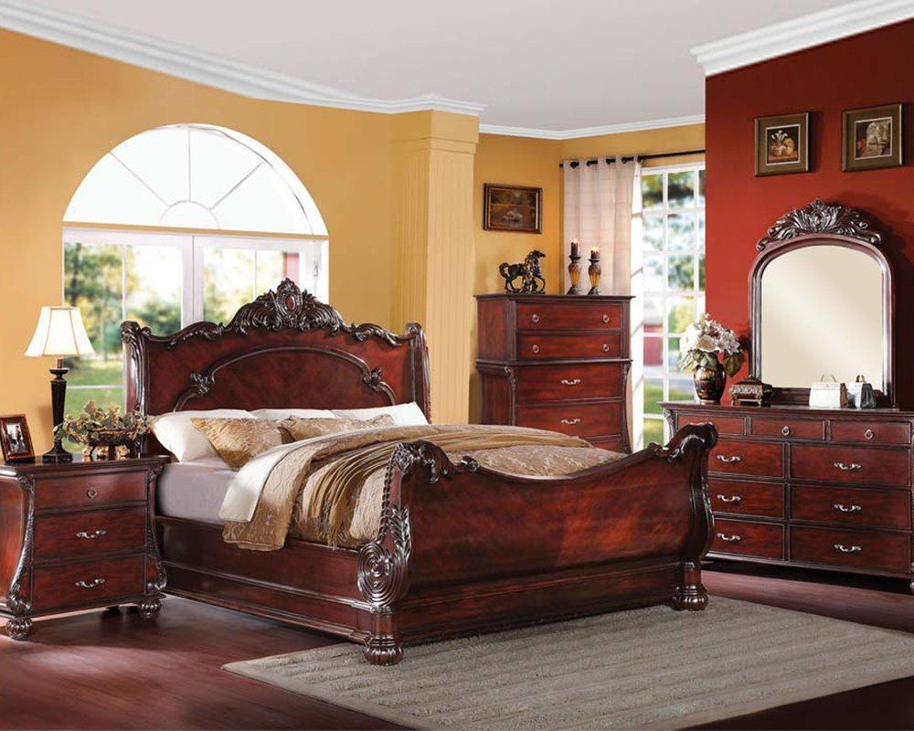 Best Bedroom Set In Cherry Finish Abramson By Acme Furniture With Pictures