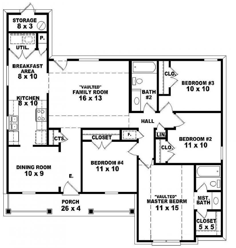 Best 2 Bedroom One Story Homes 4 Bedroom 2 Story House Floor Plans One Story 2 Bedroom House Plans With Pictures