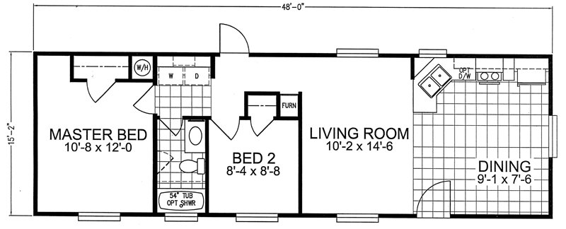 Best 2 Bedroom Trailer Houses 16 X 66 Floor Plan New 2 Bedroom With Pictures