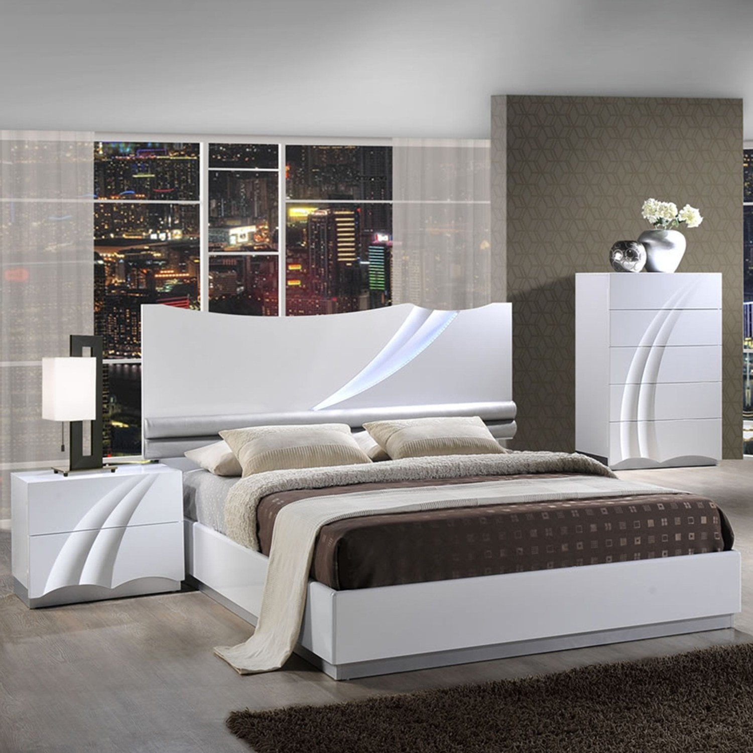 Best Eva Bedroom Set In High Gloss White Dcg Stores With Pictures