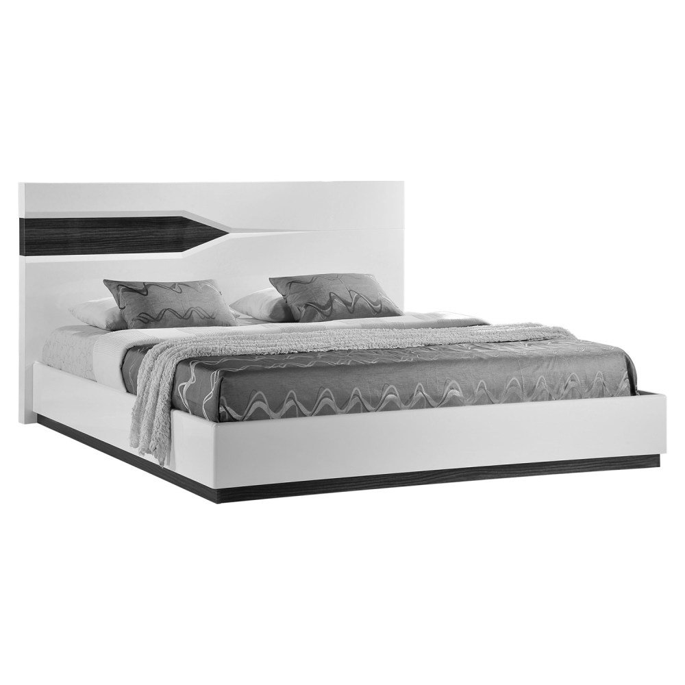 Best Hudson Bedroom Set High Gloss Zebra Gray And White Dcg With Pictures