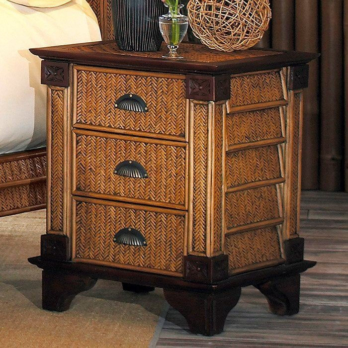 Best Trinidad 3 Drawer Nightstand Rattan Weave Mahogany Legs With Pictures
