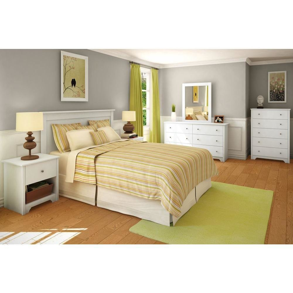 Best South Shore Vito Full Queen Size Headboard In Pure White With Pictures
