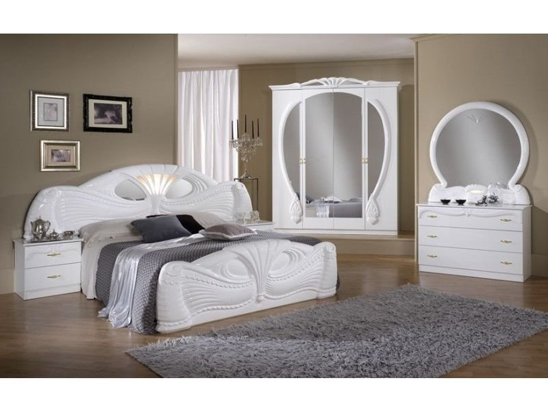 Best White Italian High Gloss Bedroom Furniture Set Homegenies With Pictures