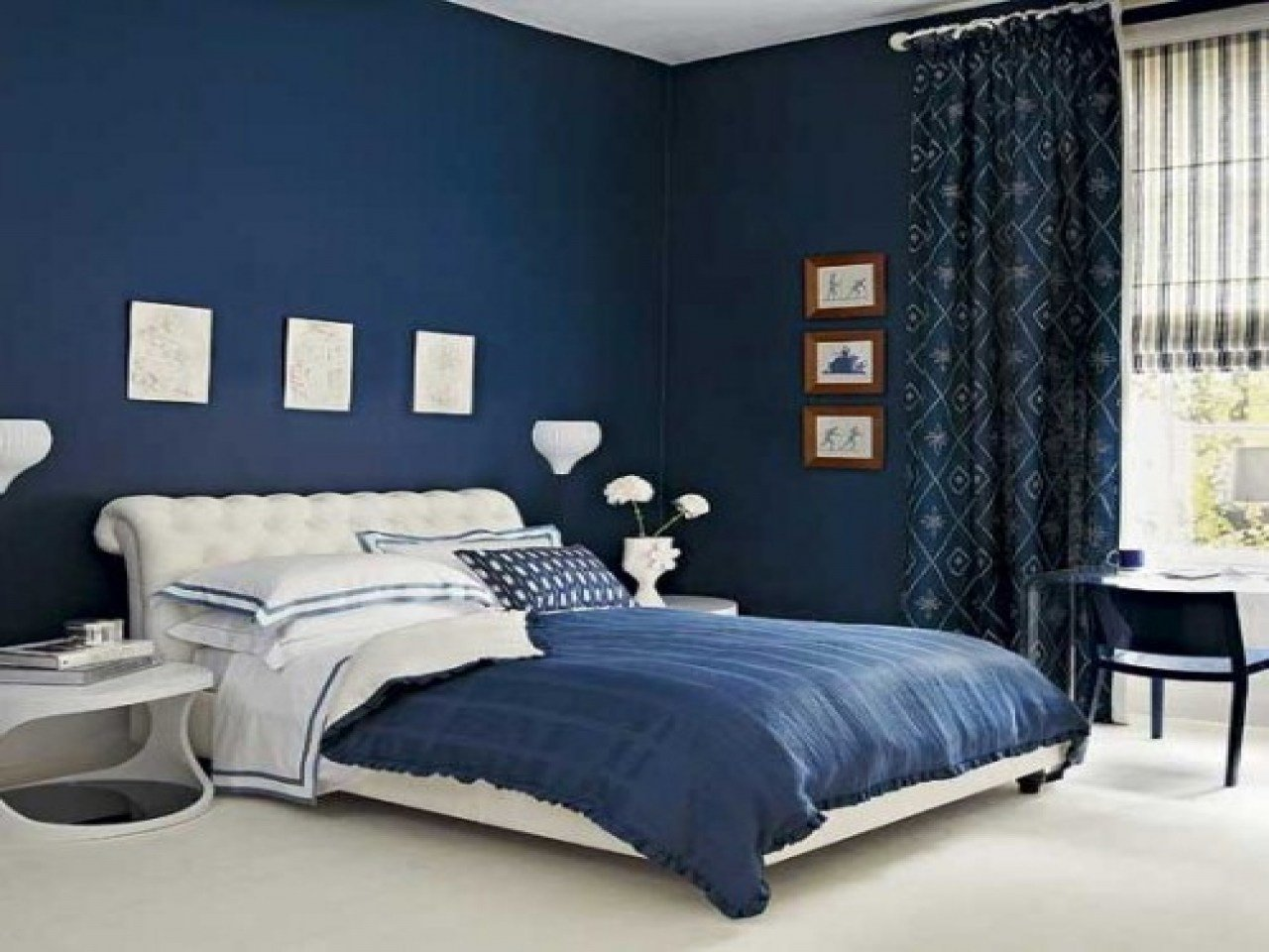 Best Navy Blue White Bedroom Decorating Ideas Toppaint Colours With Pictures