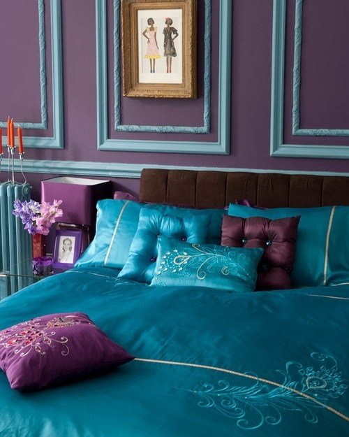 Best Decorating With Turquoise Teal And Purple This Comforter Want Too Bad Kids Ruin This Fabric With Pictures