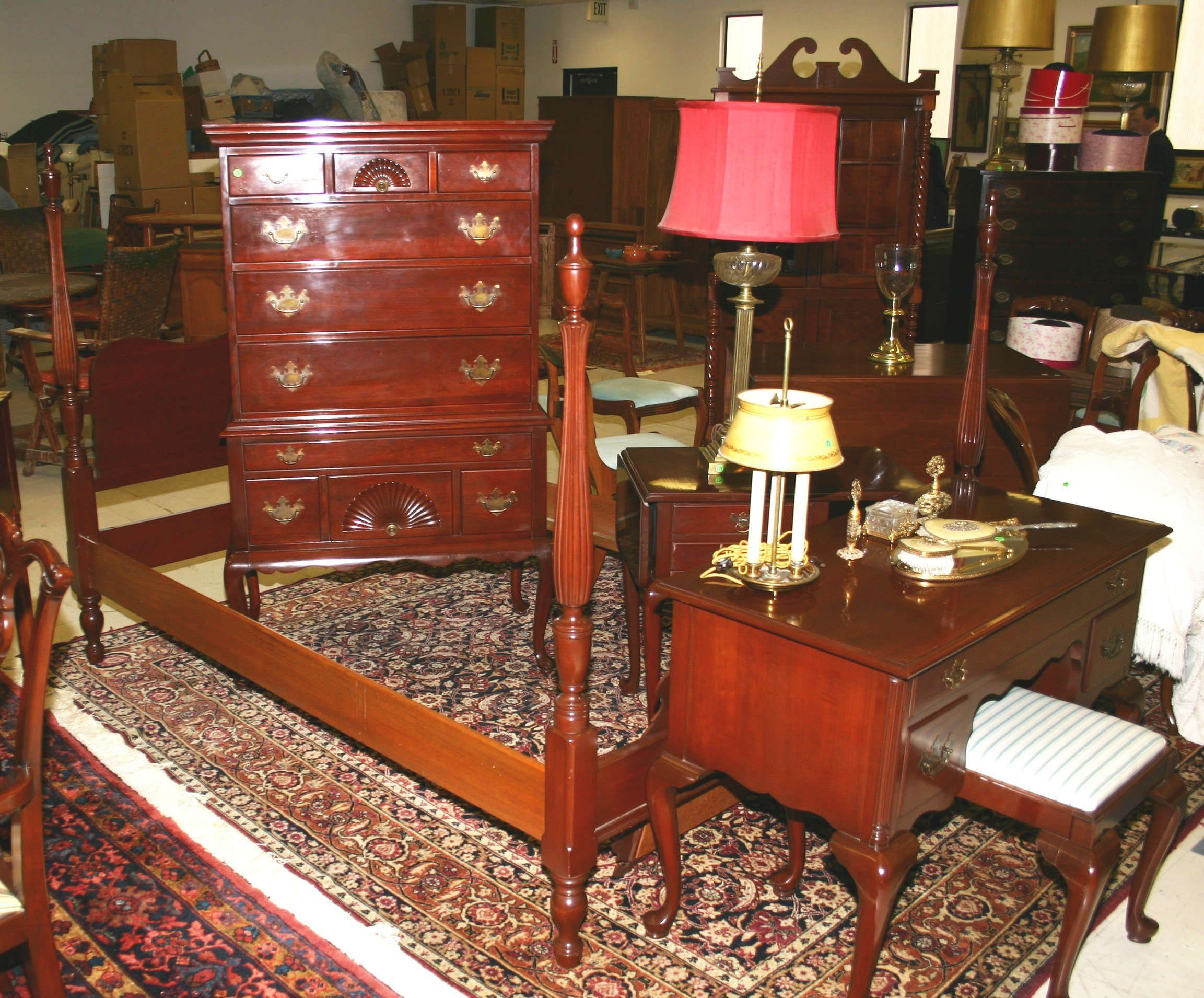 Best Furniture Suite Bedroom Queen Anne Style Cherry Park With Pictures