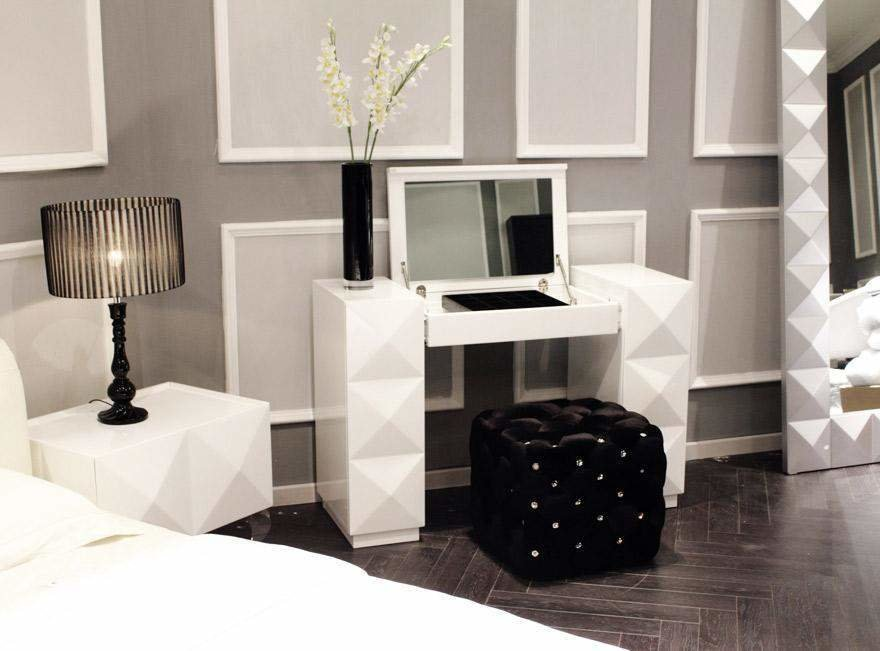 Best White Lacquer Contemporary Vanity With Folding Mirror And With Pictures