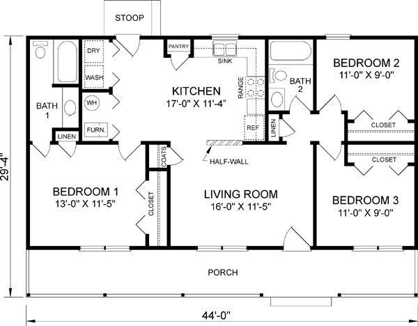 Best Of House Plans 3 Bedroom 1 Bathroom New Home Plans With Pictures
