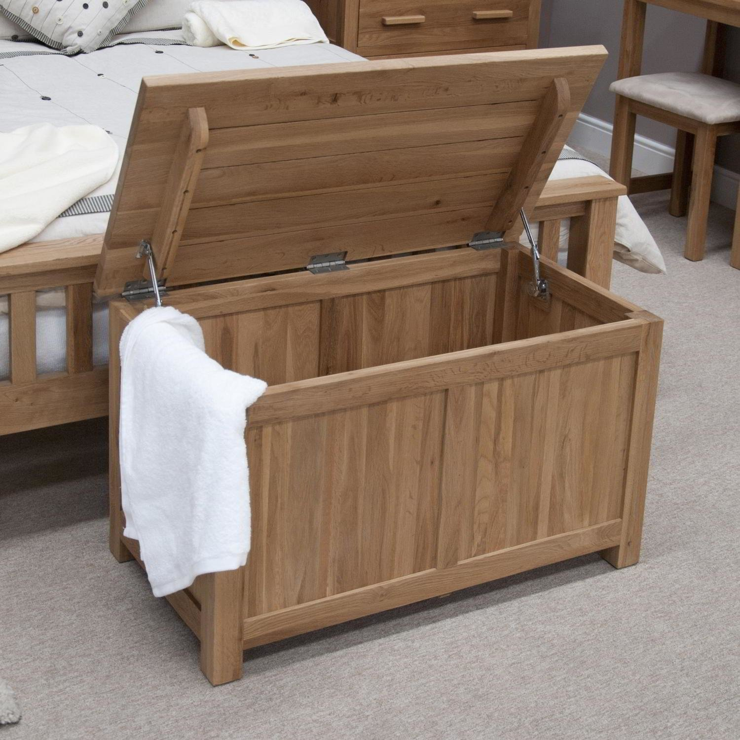 Best Eton Solid Oak Bedroom Furniture Blanket Storage Box Chest Trunk With Pictures