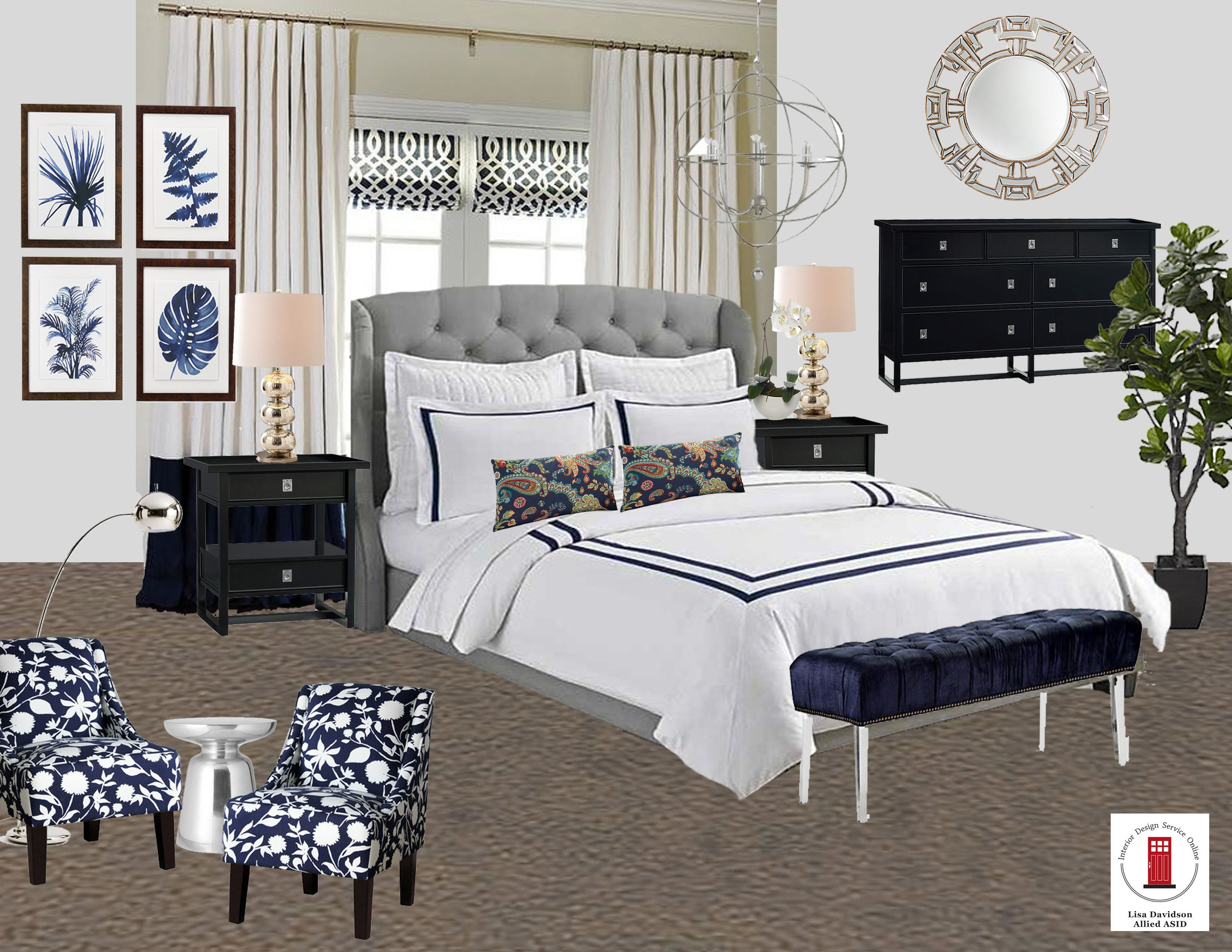 Best Navy White And Gray Transitional Master Bedroom Room By With Pictures