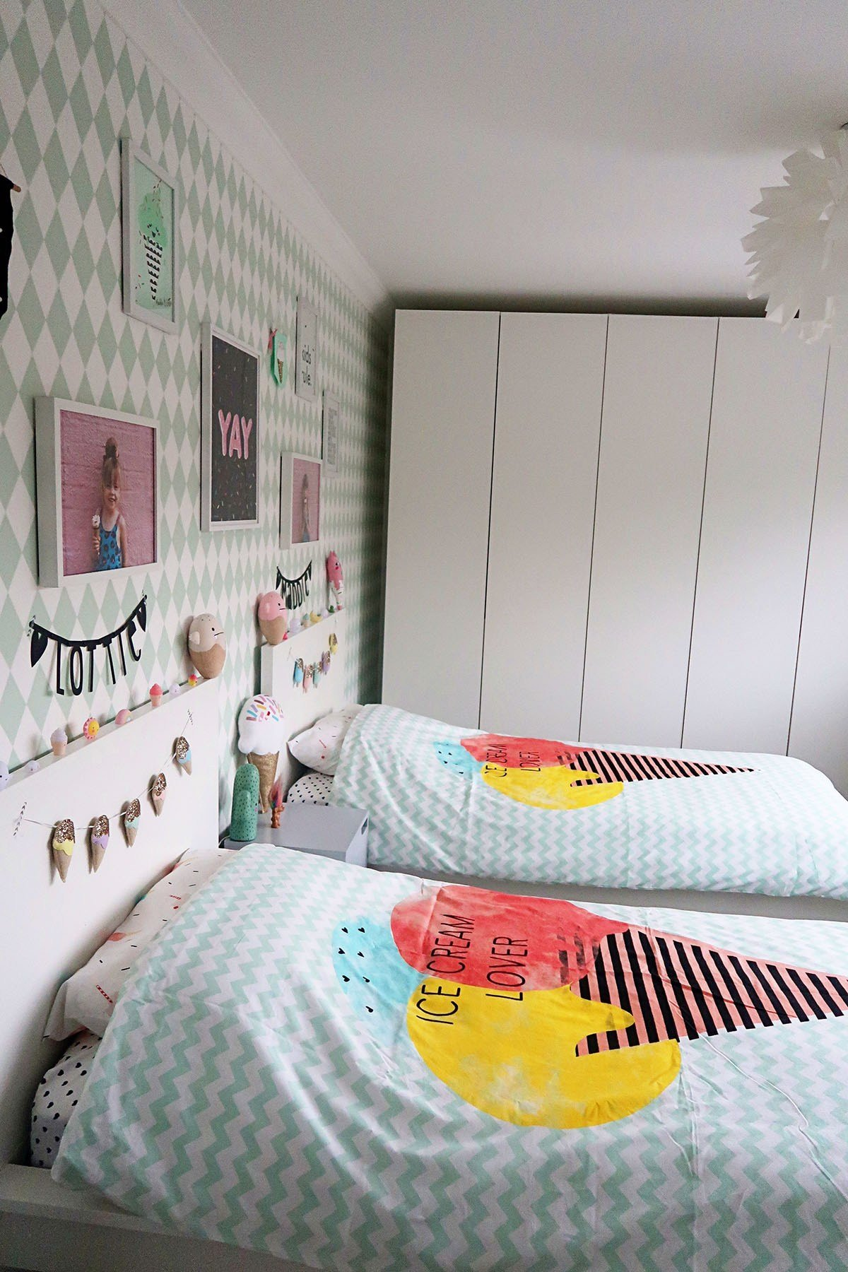 Best My Girls Shared Bedroom Tour An Ice Cream Themed Room With Pictures