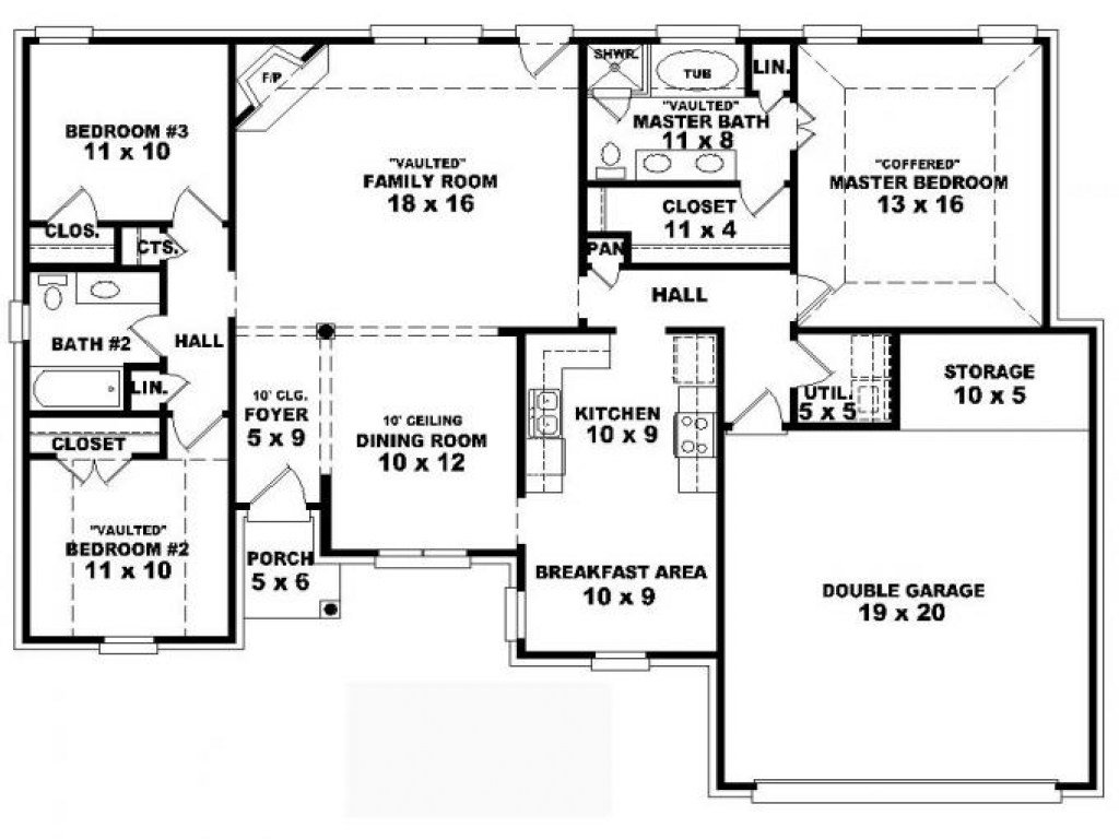Best 4 Bedroom One Story House Plans Residential House Plans 4 With Pictures