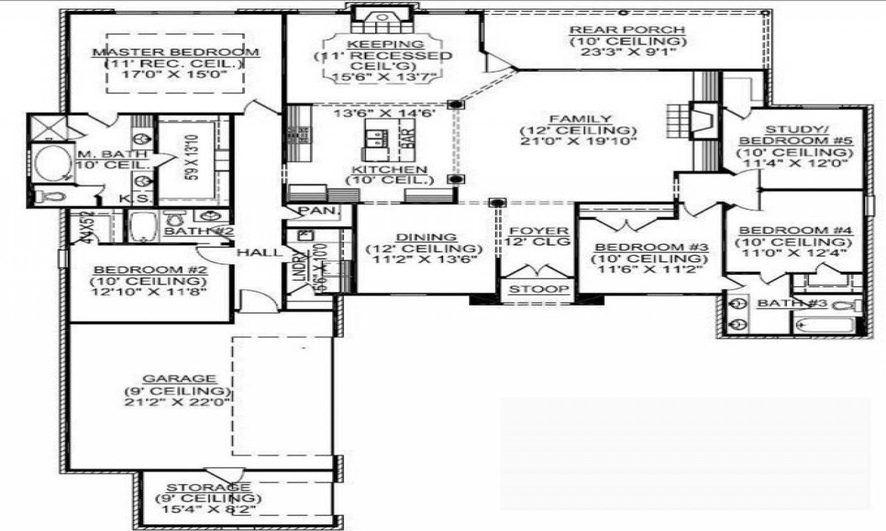 Best 1 Story 5 Bedroom House Plans 1 5 Story Floor Plans 4 With Pictures