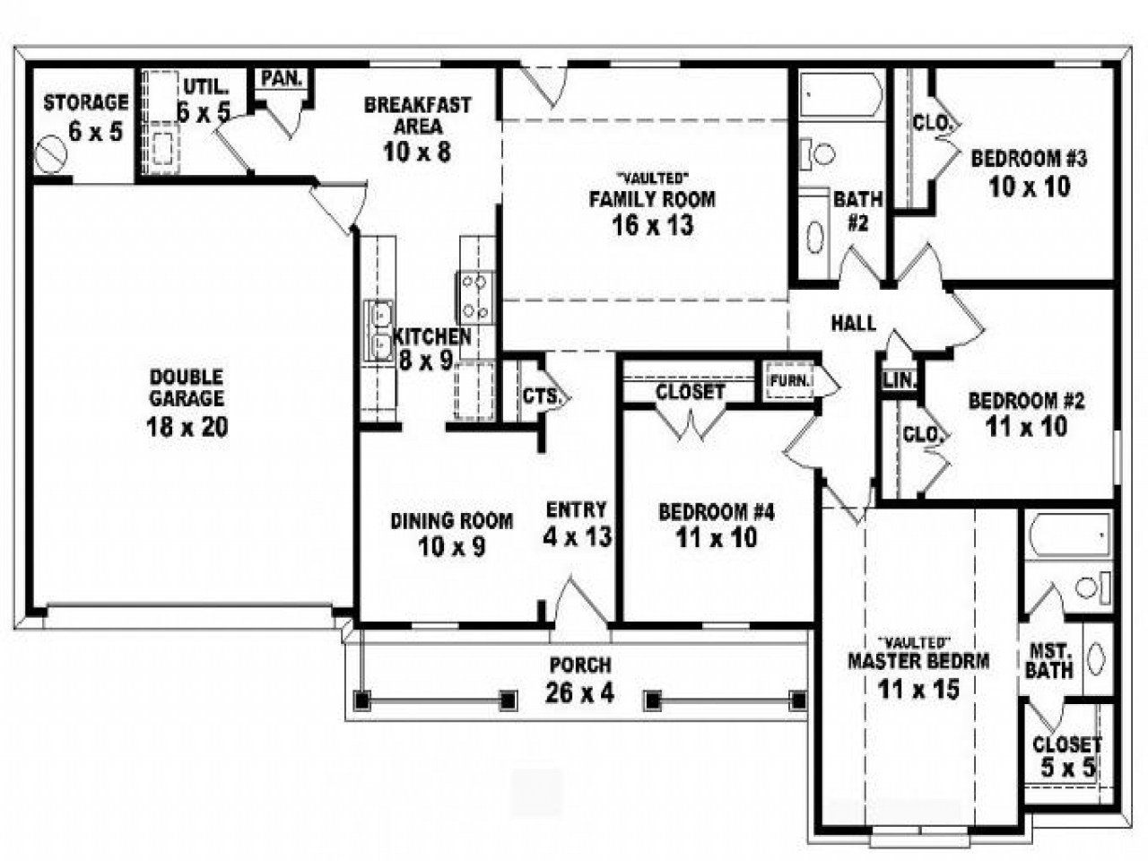 Best 4 Bedroom One Story Ranch House Plans 5 Bedroom 2 Story With Pictures