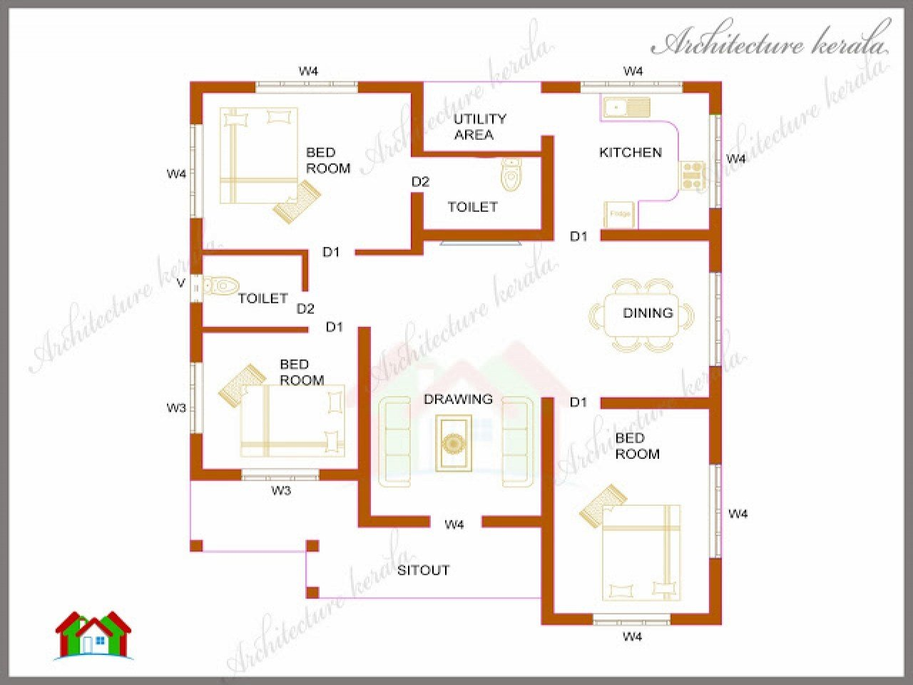 Best 1200 Square Foot Open Floor Plans 3 Bedroom Kerala House With Pictures