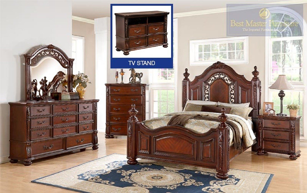 Best Furniture 4 Pc B619 Dark Cherry Finish Bedroom Set With Pictures