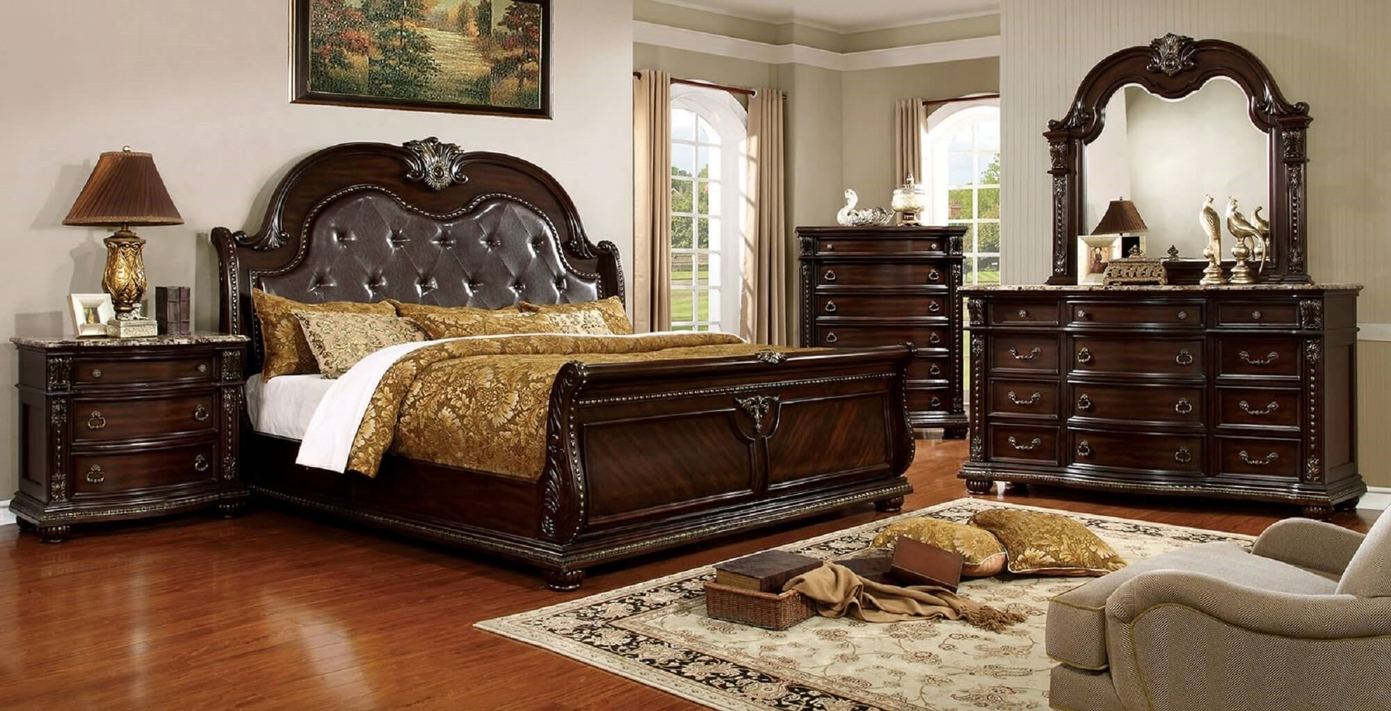 Best 4 Piece Fromberg Sleigh Bedroom Set Brown Cherry With Pictures