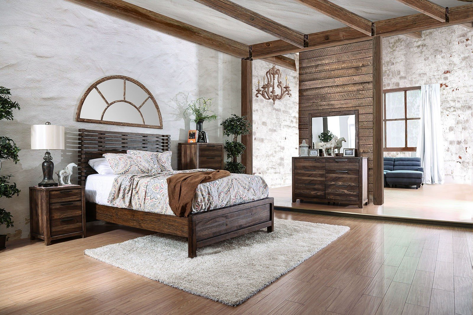 Best 4 Piece Hankinson Rustic Natural Bedroom Set With Pictures