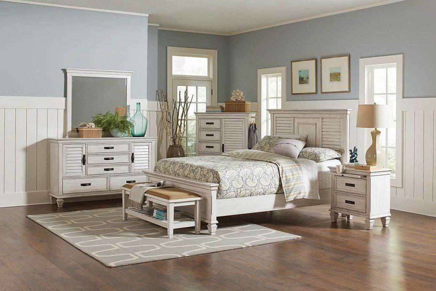 Best Franco Collection Coastal Bedroom Set In White With Grey With Pictures
