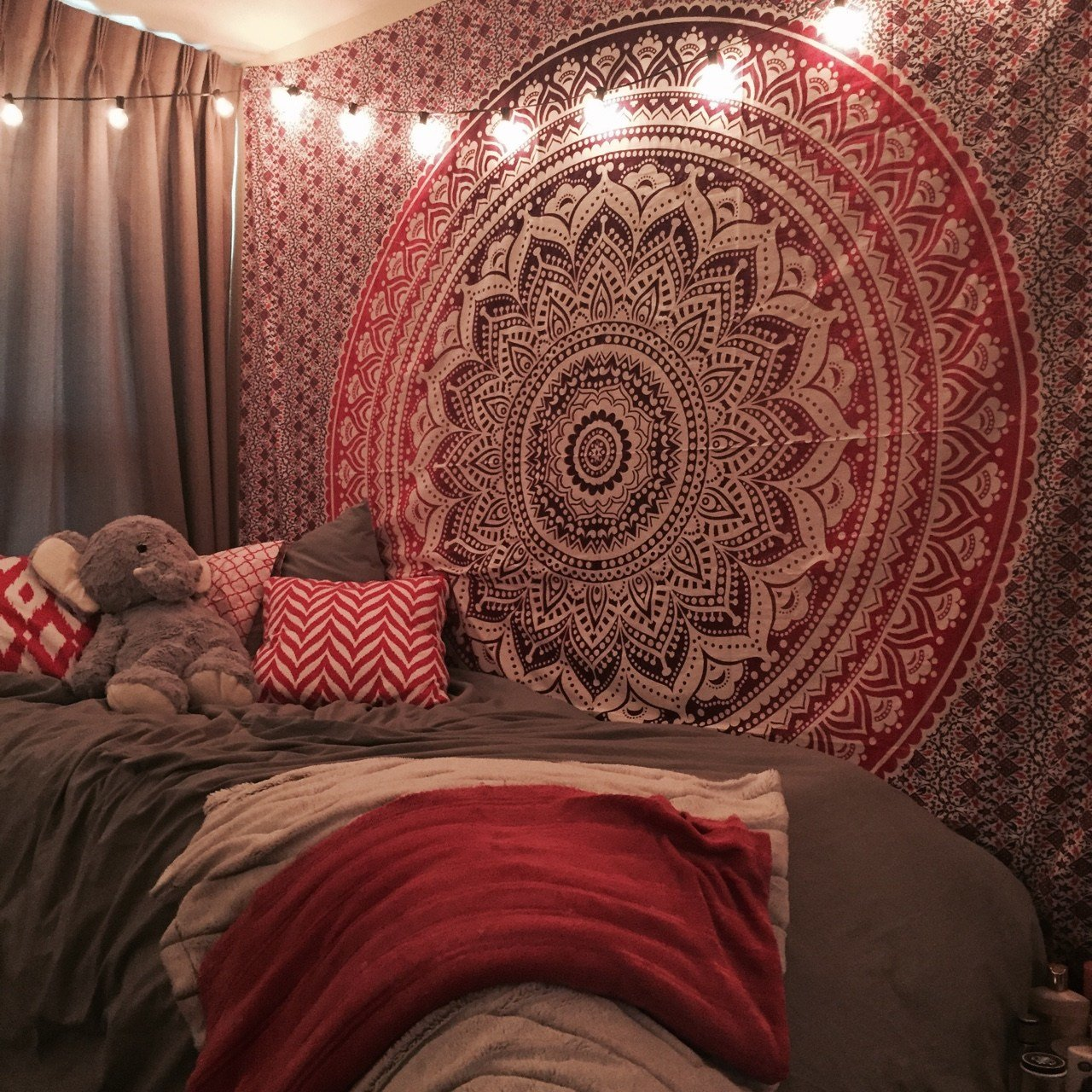 Best Maroon Floral Ombre Mandala Wall Tapestry Bedding Beach With Pictures