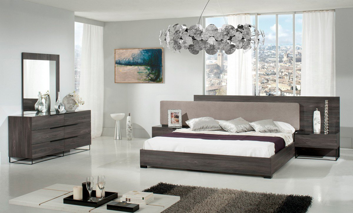 Best Modrest Enzo Italian Modern Grey Walnut Fabric Bedroom With Pictures