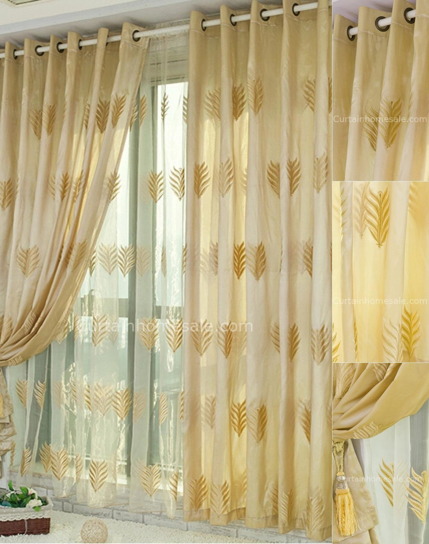 Best Fabulous Leaf Patterns Embroidery Bedroom Blackout Yellow With Pictures