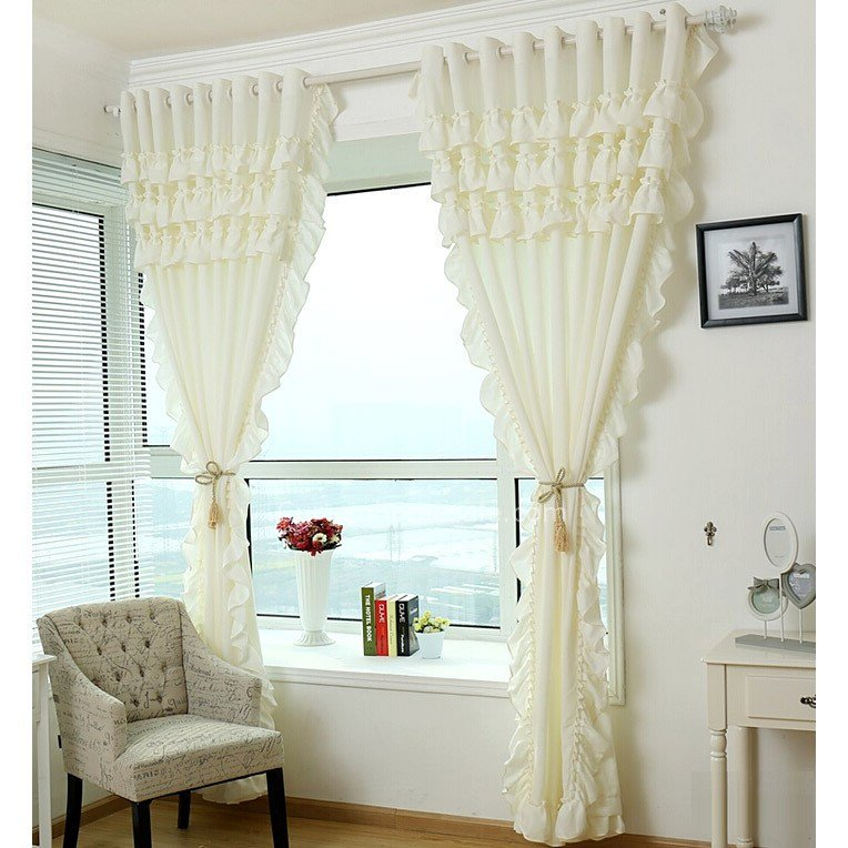 Best Elegant Cream Beige Poly Cotton Lace Girls Bedroom Curtains With Pictures