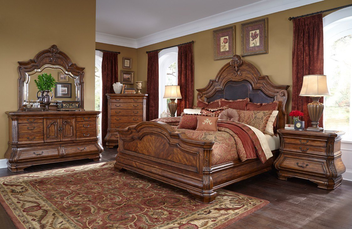 Best Michael Amini Tuscano Melange 4Pc King Size Bedroom Set By With Pictures