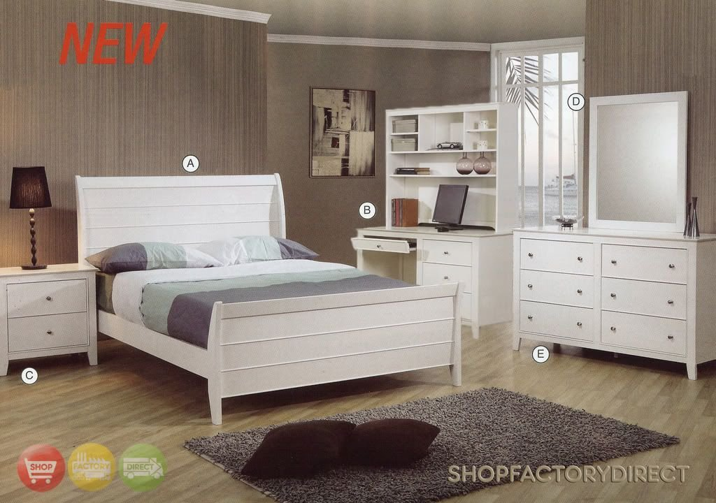 Best Selena Twin White Wood Kids 6 Piece Bedroom Furniture Set With Pictures