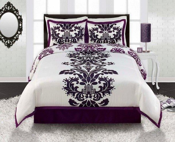 Best 4Pc Viola Black White Purple Contemporary Damask Comforter Set King Ebay With Pictures