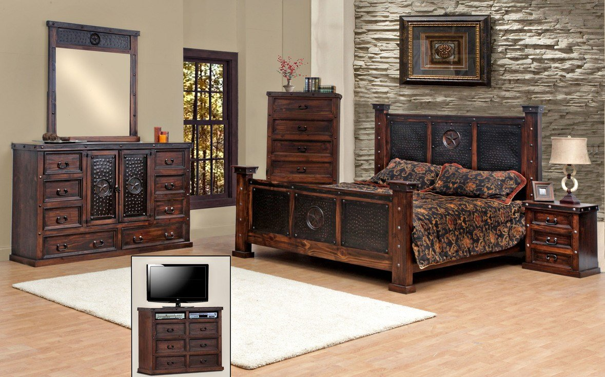 Best King Size Copper Creek Bedroom Set Free S H Dark Stain Rustic Western Ebay With Pictures