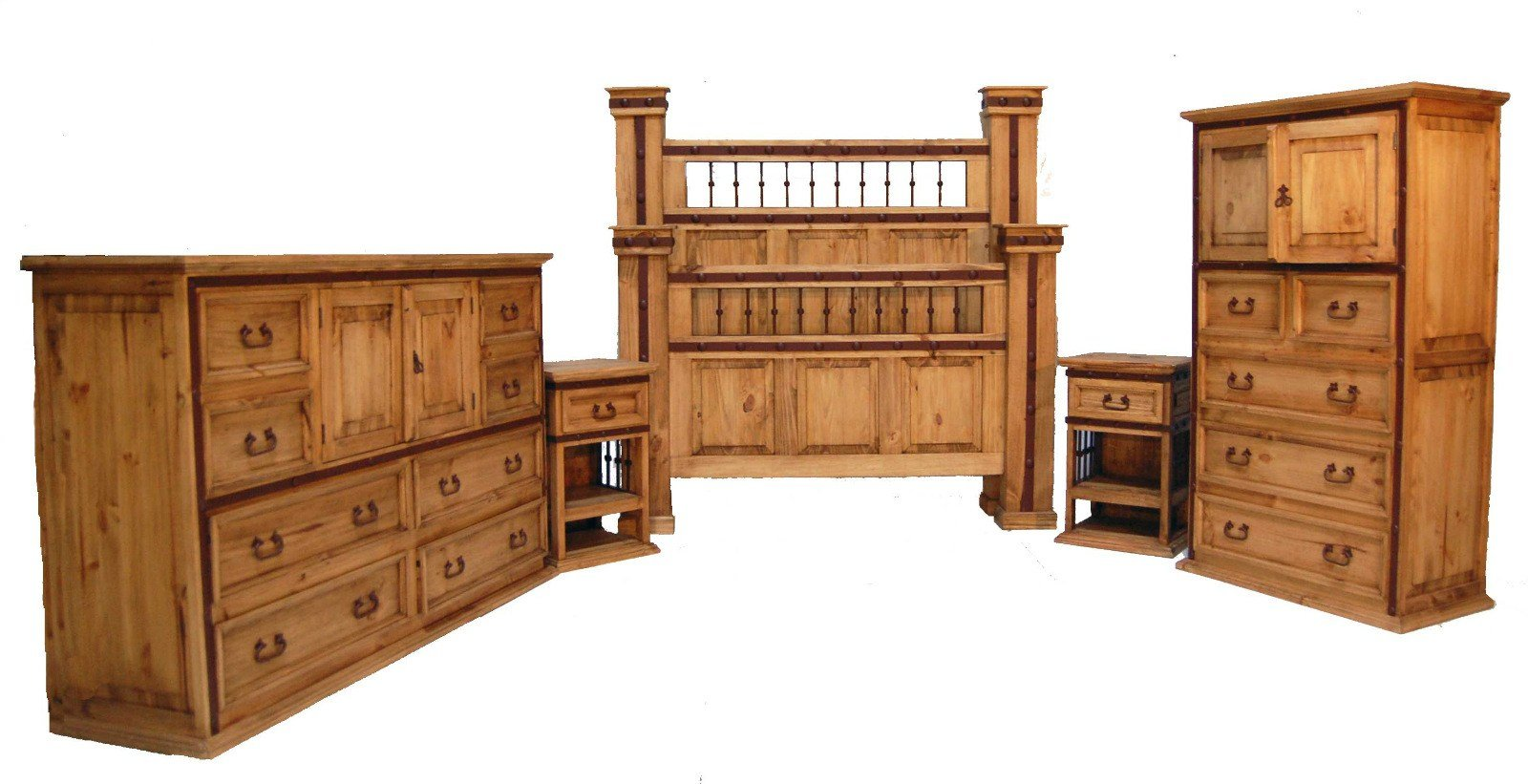 Best Honey Rustic King Hierro Bedroom Set With Iron Accents With Pictures