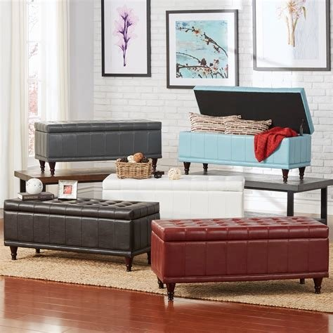 Best Storage Bench Red Faux Leather Ottoman Lift Top Living With Pictures