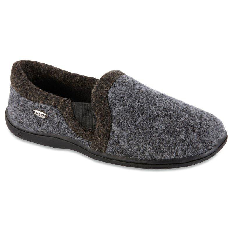 Best Acorn Mens Davin Gore Moc Slippers Smoke Heather At With Pictures