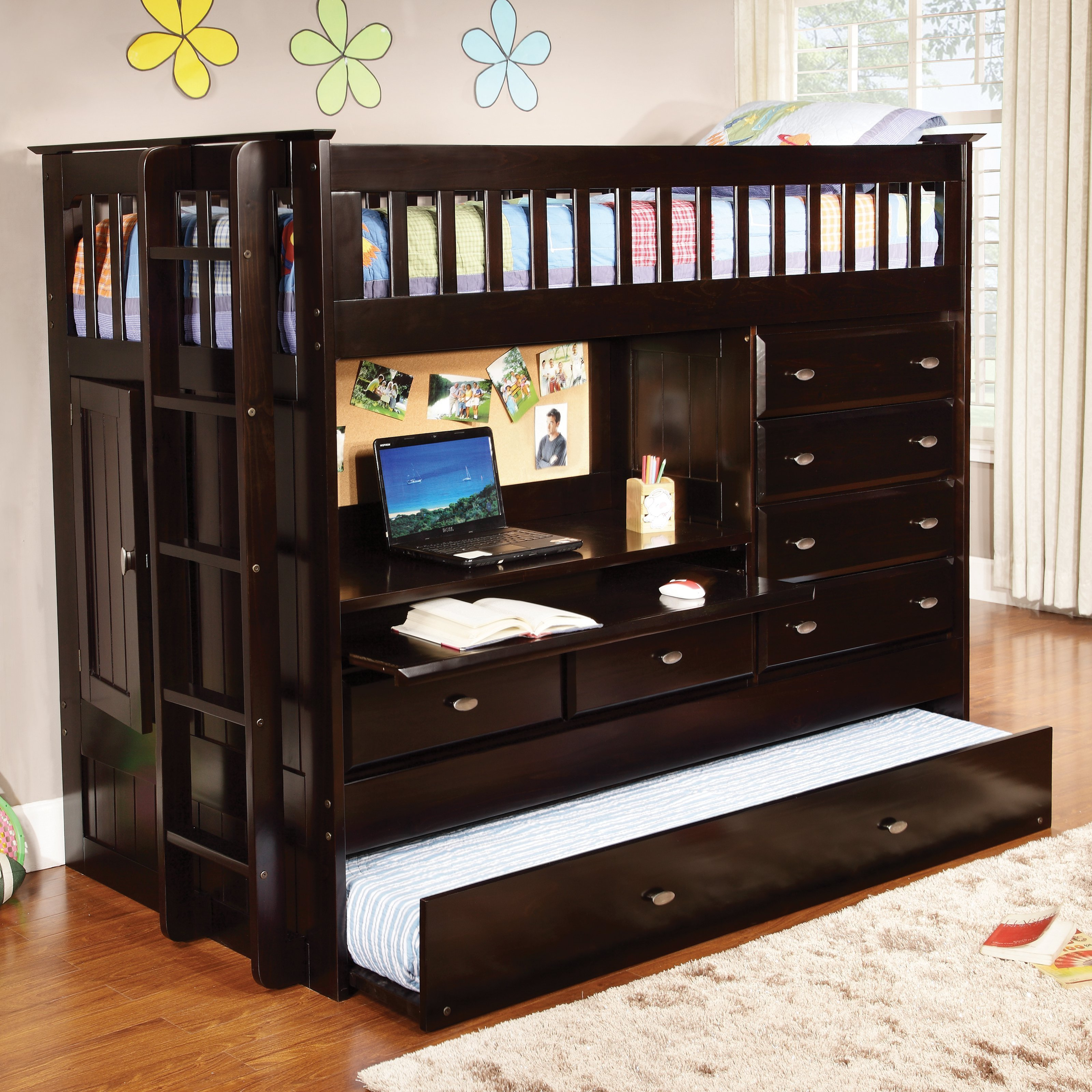 Best Donco All In One Loft Bed Dark Espresso Bunk Beds With Pictures